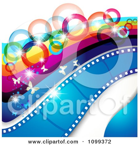 Clipart Photography Background Of Butterflies Sparkles Rainbow Circles Stripes And Film Frames - Royalty Free Vector Illustration by merlinul
