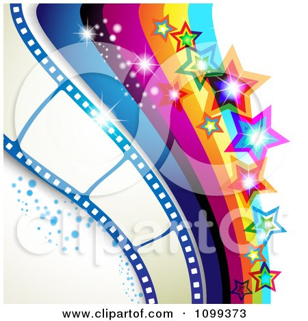 Clipart Photography Background Of Film Frames Rainbow Waves Sparkles And Stars - Royalty Free Vector Illustration by merlinul