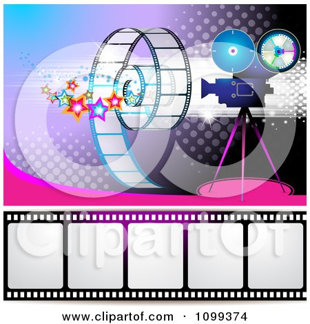 Clipart Filming Movie Camera With Film Over Purple With Halftone 1 - Royalty Free Vector Illustration by merlinul