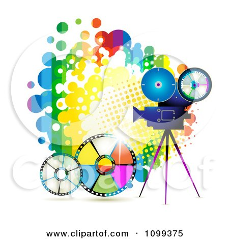 Clipart Movie Camera Filming Over A Rainbow Splatter And Film Reels - Royalty Free Vector Illustration by merlinul