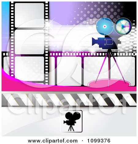 Clipart Of A Filming Movie Camera With Film And Music Notes Over ...