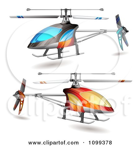 Clipart 3d Blue And Orange Helicopters - Royalty Free Vector Illustration by merlinul