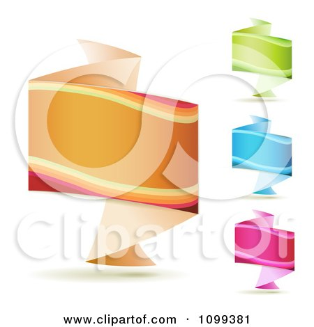 Clipart 3d Orange Green Blue And Pink Origami Fold Banners - Royalty Free Vector Illustration by merlinul