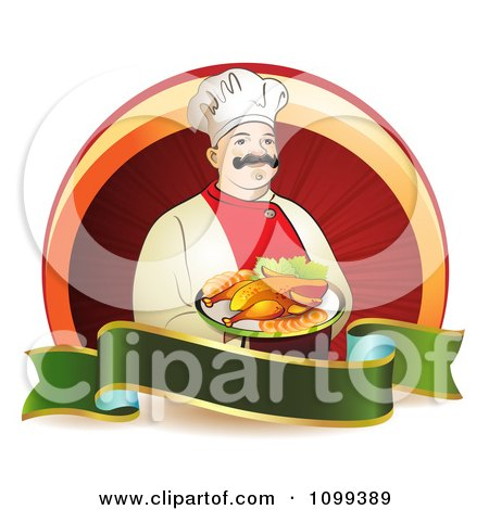 Clipart Happy Male Chef Serving Chicken Over A Circle With A Green Blank Banner - Royalty Free Vector Illustration by merlinul