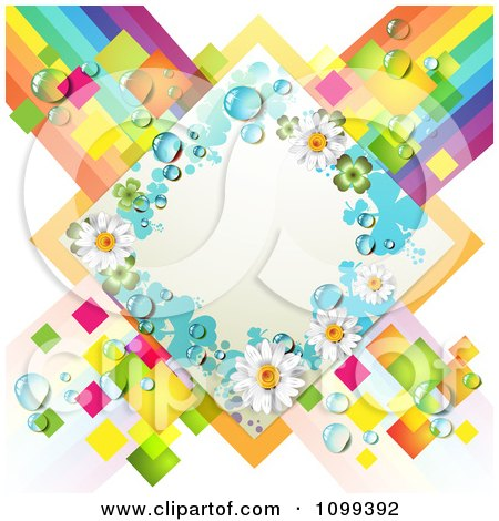 Clipart White Shamrock And Daisy Diamond Over Colorful Tiles And Stripes - Royalty Free Vector Illustration by merlinul