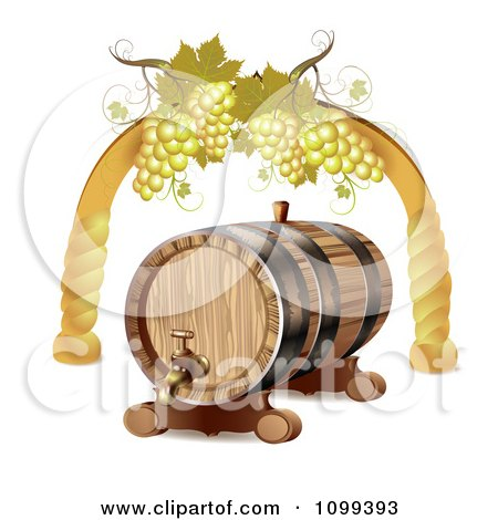 Clipart Wine Barrel With White Grapes In An Arch - Royalty Free Vector Illustration by merlinul
