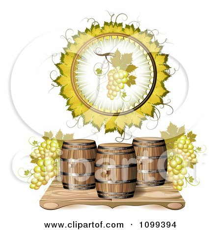 Clipart Wine Barrel With White Grapes In A A Leaf Circle - Royalty Free Vector Illustration by merlinul