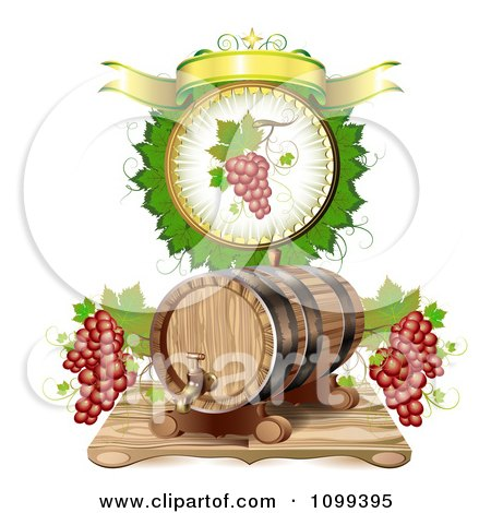 Clipart Wine Barrel With Red Grapes In A A Leaf Circle With A Banner - Royalty Free Vector Illustration by merlinul