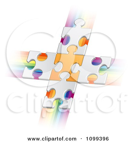 Clipart 3d White Puzzle Pieces Connected To An Orange Piece Forming A Cross Over Rainbow Streaks - Royalty Free Vector Illustration by merlinul