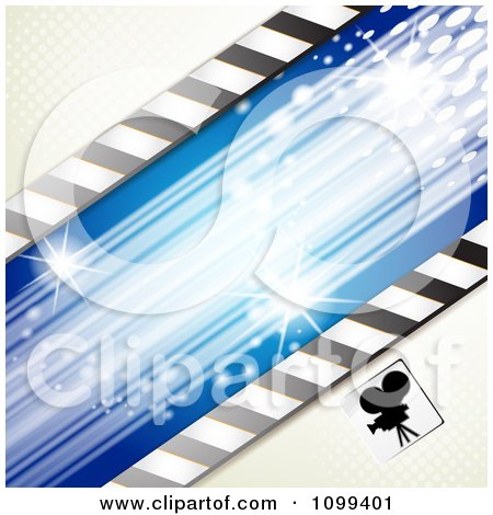 Clipart Silhouetted Movie Camera With Halftone And Blue Lights - Royalty Free Vector Illustration by merlinul