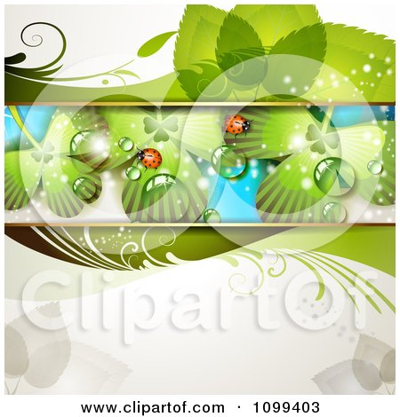 Clipart Background Of Ladybugs On Dewy Shamrocks - Royalty Free Vector Illustration by merlinul
