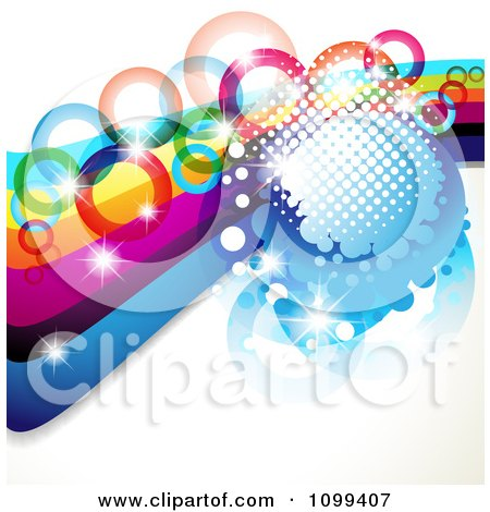 Clipart Background Of A Rainbow Waves With Colorful Rings Halftone And Magic Sparkles - Royalty Free Vector Illustration by merlinul