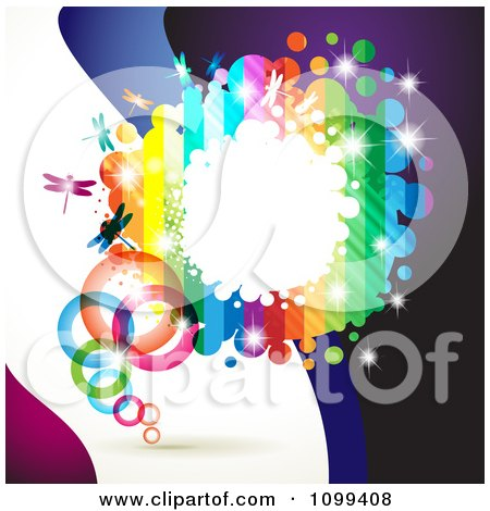 Clipart Background Of A Rainbow Frame With Dragonflies Rings And Dots Over Waves - Royalty Free Vector Illustration by merlinul