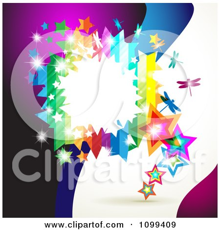 Clipart Background Of A Rainbow Frame With Dragonflies Stars And Dots Over Waves - Royalty Free Vector Illustration by merlinul