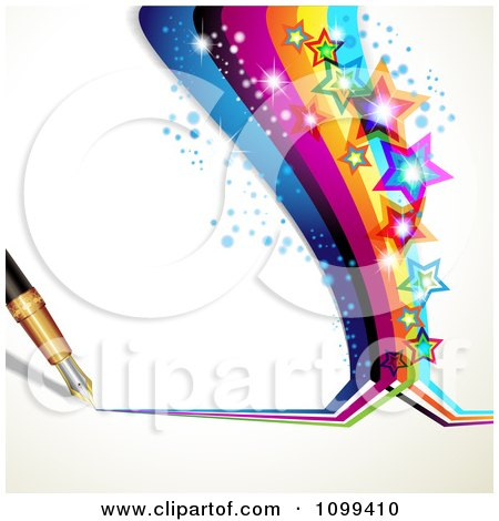 Clipart Background Of A Fountain Pen Drawing A Rainbow With Colorful Sparkly Stars - Royalty Free Vector Illustration by merlinul