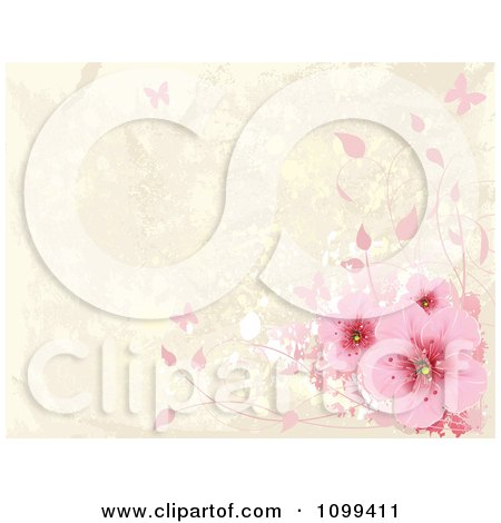 Clipart Pink Cherry Blossoms And Butterflies Over Beige Grunge With Copyspace - Royalty Free Vector Illustration by Pushkin