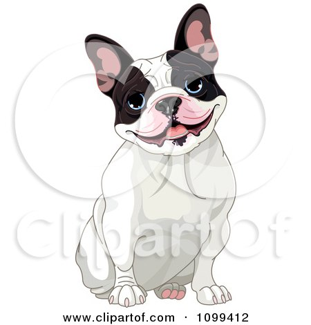 Clipart Cute Black And White French Bulldog Sitting And Smiling - Royalty Free Vector Illustration by Pushkin