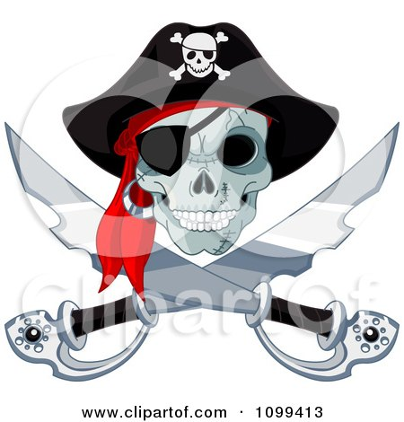 Clipart Pirate Skull And Crossed Swords Jolly Roger - Royalty Free Vector Illustration by Pushkin