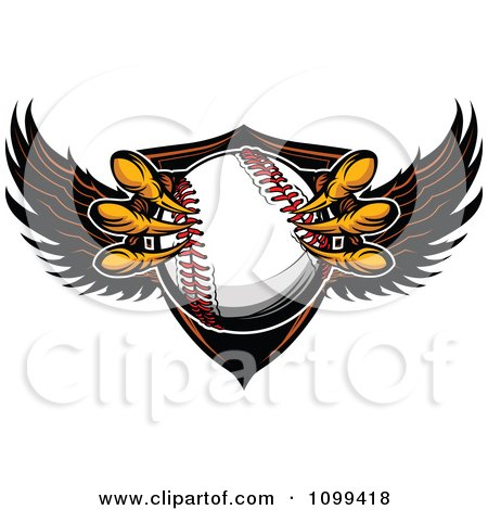 Clipart Eagle Talons Grabbing A Baseball And A Winged Shield - Royalty Free Vector Illustration by Chromaco