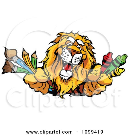 Clipart Happy Lion Mascot Holding Out Art Crayons Paintbrushes And Pencils - Royalty Free Vector Illustration by Chromaco