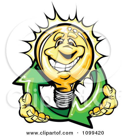 Clipart Happy Yellow Light Bulb Mascot Holding Renewable Solar Energy Arrows - Royalty Free Vector Illustration by Chromaco