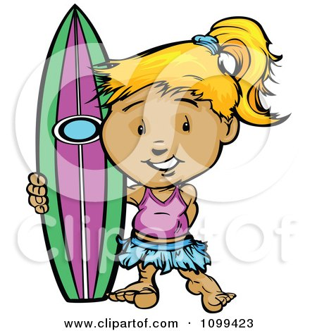 Clipart Happy Blond Surfer Girl Standing With Her Board - Royalty Free Vector Illustration by Chromaco