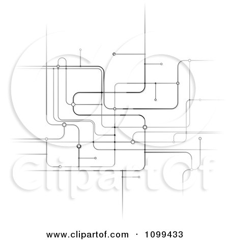 Clipart Black And White Network Of Circuits - Royalty Free Vector Illustration by dero