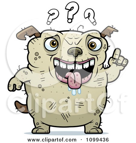 Clipart Dumb Ugly Dog With Questions - Royalty Free Vector Illustration by Cory Thoman