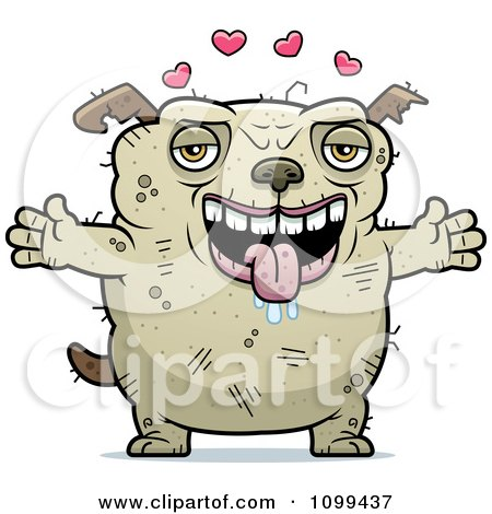 Clipart Loving Ugly Dog - Royalty Free Vector Illustration by Cory Thoman