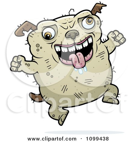 Clipart Jumping Ugly Dog - Royalty Free Vector Illustration by Cory Thoman