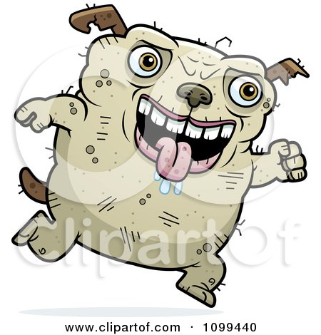 Clipart Running Ugly Dog - Royalty Free Vector Illustration by Cory Thoman