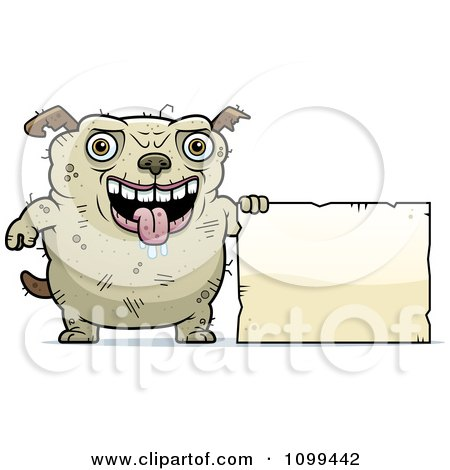 Clipart Ugly Dog Holding A Sign - Royalty Free Vector Illustration by Cory Thoman