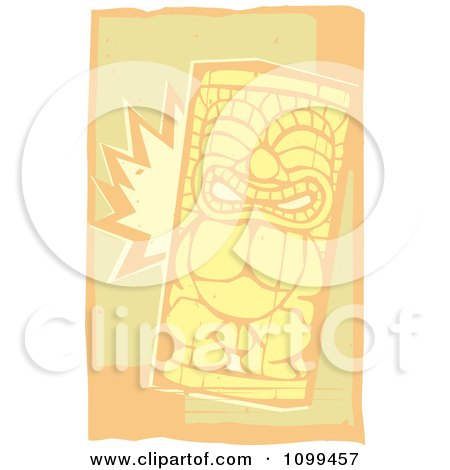 Clipart Woodcut Smiling Tiki With Beige And Orange - Royalty Free Vector Illustration by xunantunich