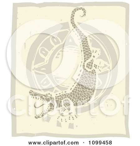 Clipart Woodcut Tribal Alligator Or Crocodile And Sun In Brown Tones - Royalty Free Vector Illustration by xunantunich