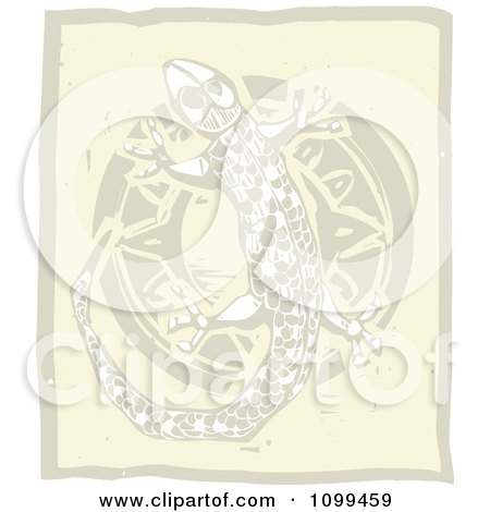 Clipart Woodcut Styled Tribal Gecko And Sun In Brown Tones - Royalty Free Vector Illustration by xunantunich