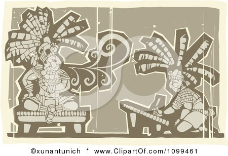 Clipart Woodcut Depiction Of A Mayan King Smoking And Artist Drawing In Brown Tones - Royalty Free Vector Illustration by xunantunich