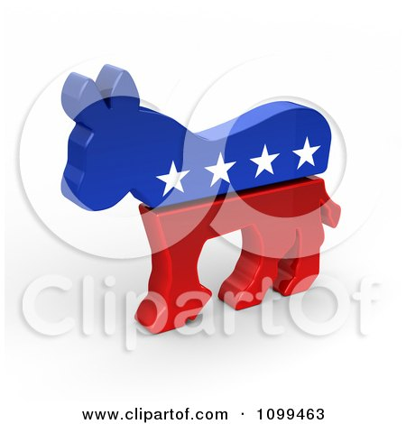 Clipart 3d Democratic Political American Donkey - Royalty Free CGI Illustration by stockillustrations