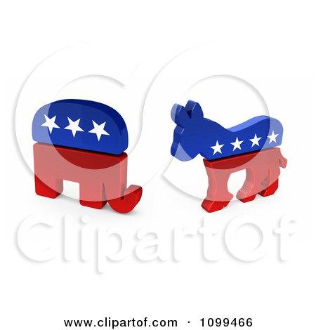 3d Democratic Political American Donkey And Republican Elephant Posters, Art Prints