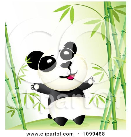 Clipart Happy Wild Panda In A Bamboo Forest - Royalty Free Vector Illustration by NoahsKnight