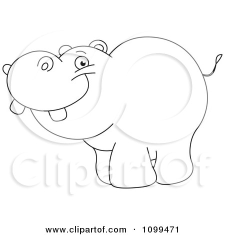 Clipart Happy Outlined Cute Baby Hippo - Royalty Free Vector Illustration by yayayoyo