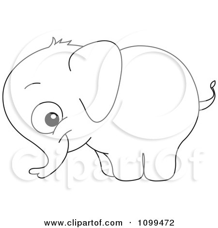 clipart happy outlined cute baby elephant royalty free vector illustration by yayayoyo