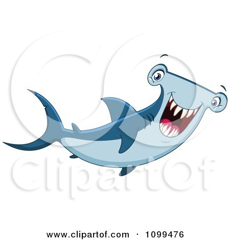 Clipart Happy Hammerhead Shark Smiling - Royalty Free Vector Illustration by yayayoyo