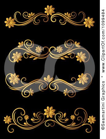 Clipart Golden Flourish Rule And Border Design Elements 16 - Royalty Free Vector Illustration by Vector Tradition SM