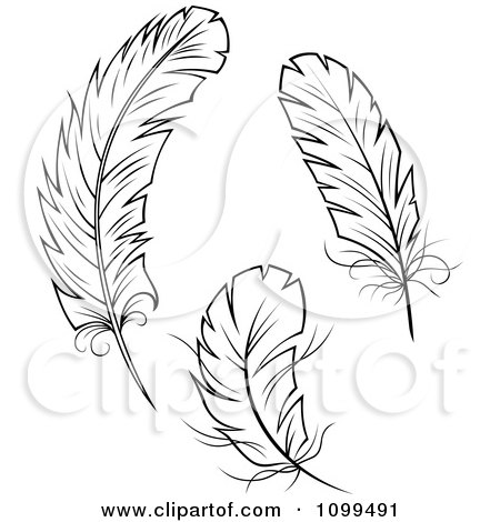 Quill And Inkwell Drawing Clipart of Black and W...