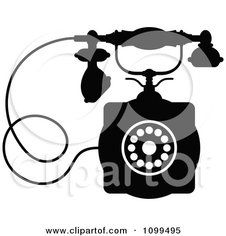 Clipart Retro Black And White Desk Telephone 1 - Royalty Free Vector Illustration by Vector Tradition SM