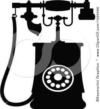 Clipart Retro Black And White Desk Telephone 2 - Royalty Free Vector Illustration by Vector Tradition SM