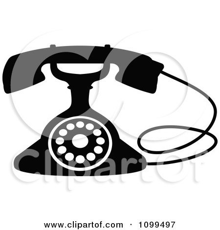 Clipart Retro Black And White Desk Telephone 3 - Royalty Free Vector Illustration by Vector Tradition SM