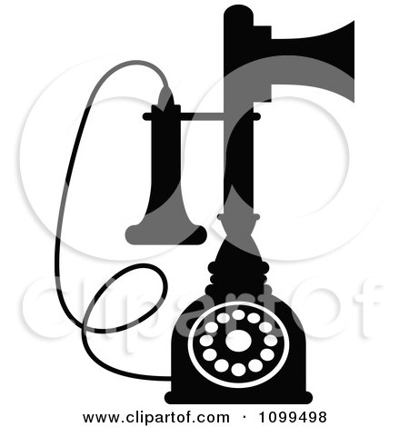 Clipart Retro Black And White Desk Candlestick Telephone - Royalty Free Vector Illustration by Vector Tradition SM