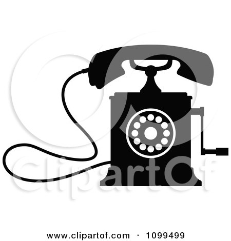 Clipart Retro Black And White Desk Crank Telephone - Royalty Free Vector Illustration by Vector Tradition SM