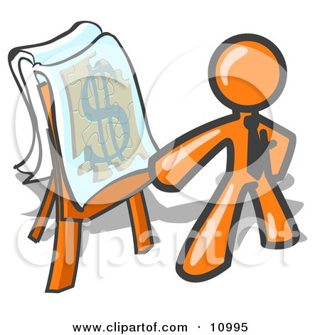 Orange Business Man Standing by a Dollar Sign Puzzle on a Presentation Board During a Meeting Posters, Art Prints